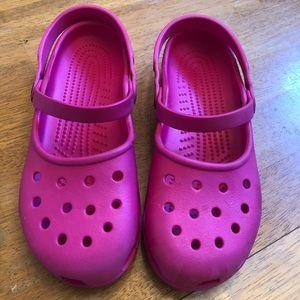 Crocs hot pink Mary Jane slip on clogs very nice 8